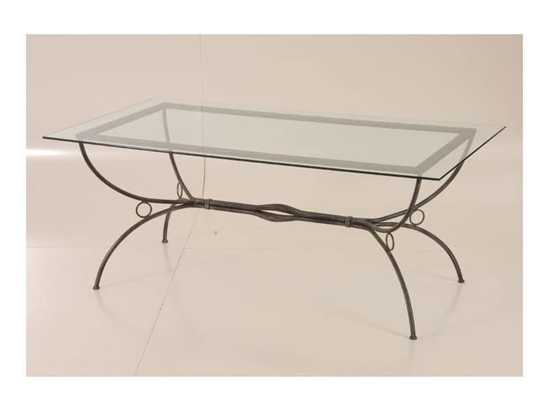 Karin, Tavolo per esterno con struttura in fetto battuto