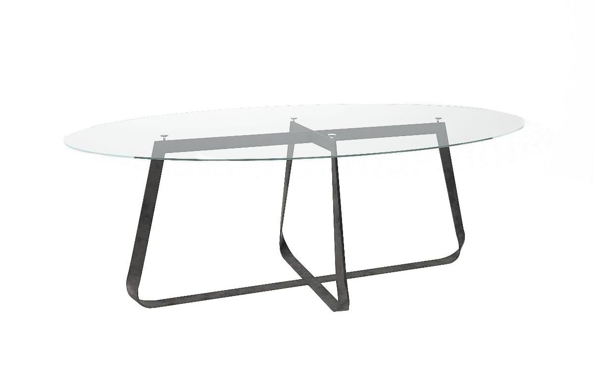 Tavolo con piano ovale in vetro o marmo   IDFdesign