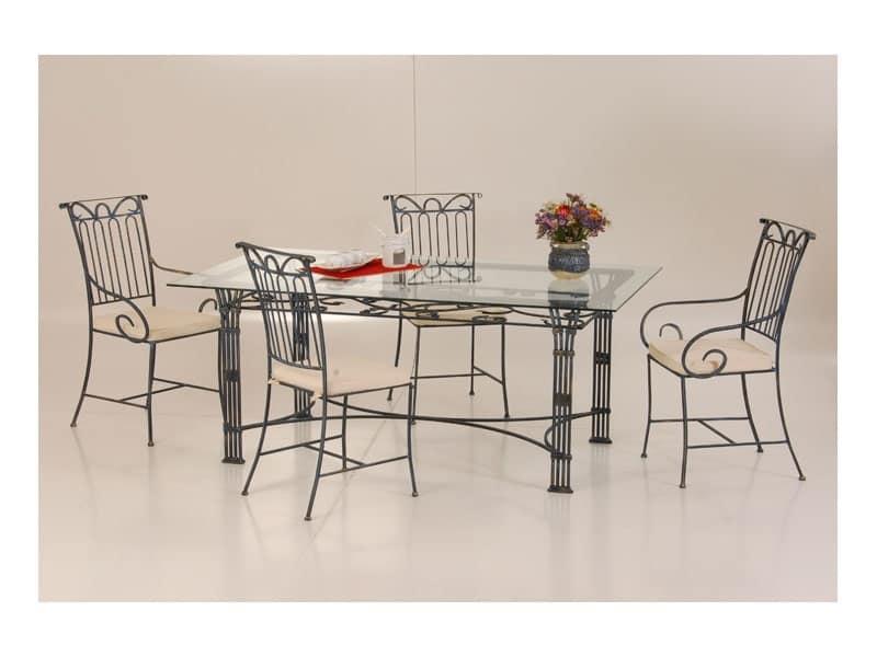 Tavolo in ferro battuto e piano in vetro per esterno - Tavoli da pranzo ferro battuto e vetro ...
