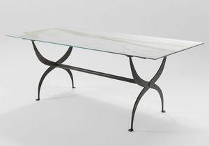 Strauss, Tavolo in ferro con piano in vetro