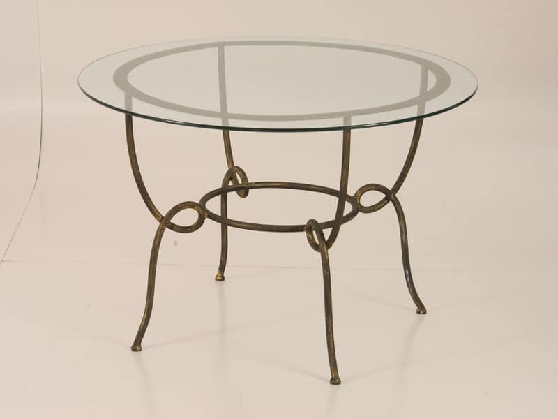 Tavolo con piano rotondo in vetro, per uso esterno | IDFdesign