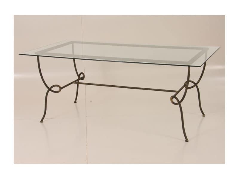 Viola Tavolo, Tavolo rettangolare con piano in vetro, per uso esterno