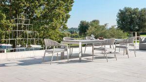 Dolmen low, Tavolo allungabile in alluminio per esterno