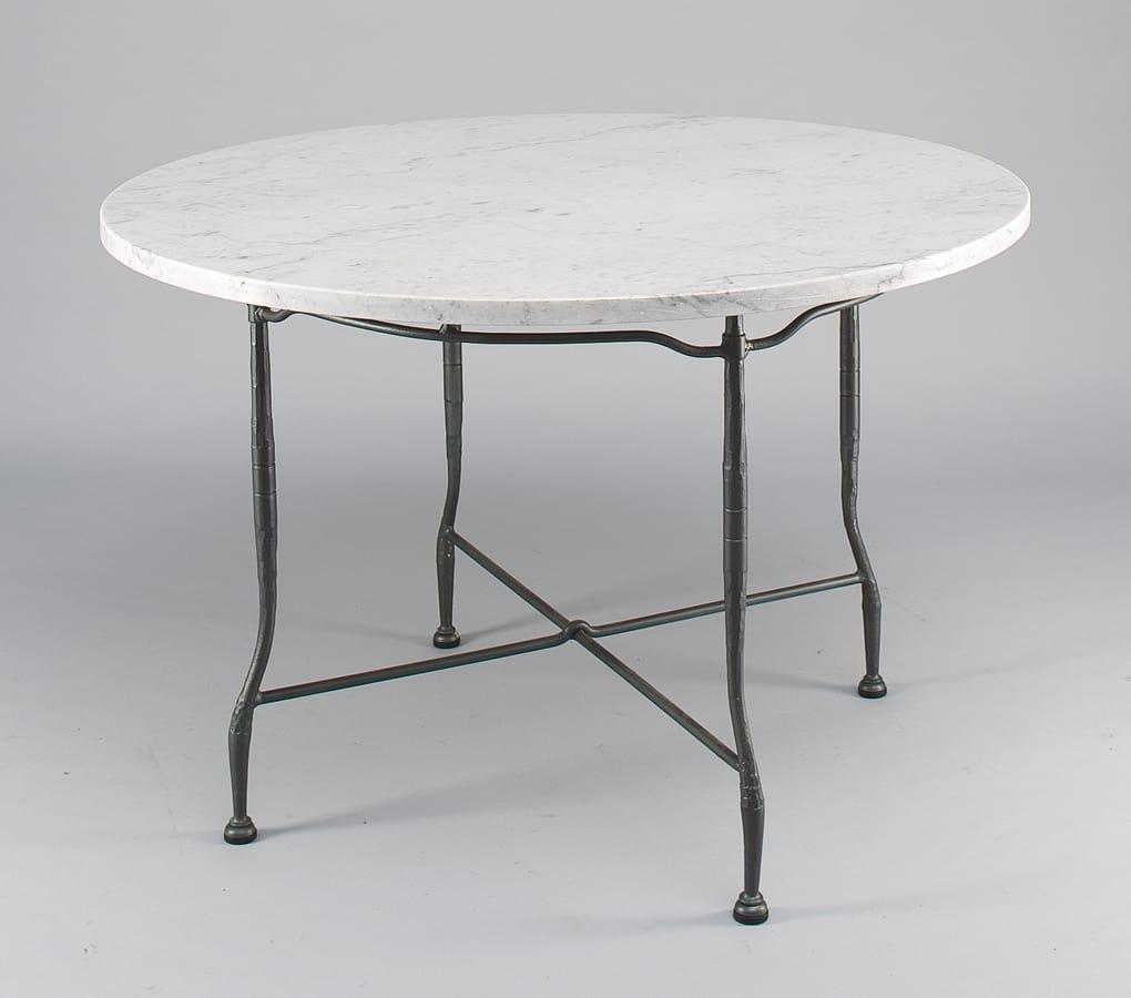Tavoli In Marmo Da Giardino.Tavolo Da Esterno Con Piano Tondo In Marmo Idfdesign
