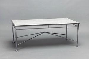 INTRECCIO GF4004TAB, Tavolo rettangolare con piano in marmo di Carrara