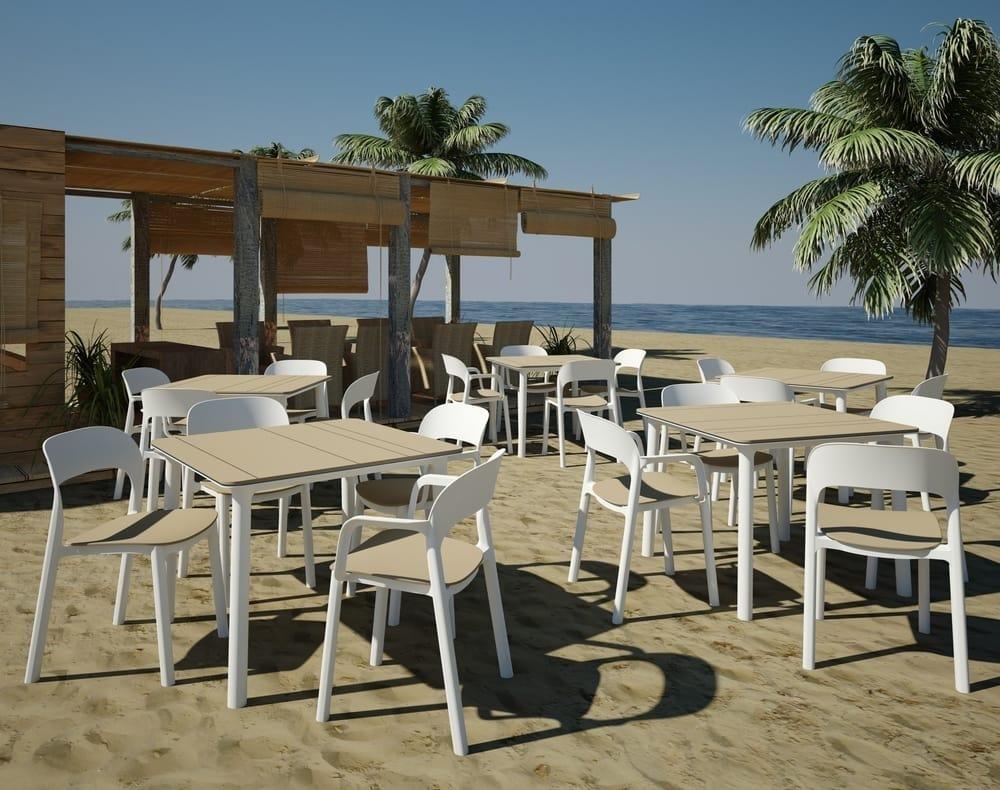 Nat, Tavolo quadrato da esterno, per ristoranti e alberghi