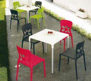 Stop, Tavolo da esterno, impilabile, in alluminio e plastica