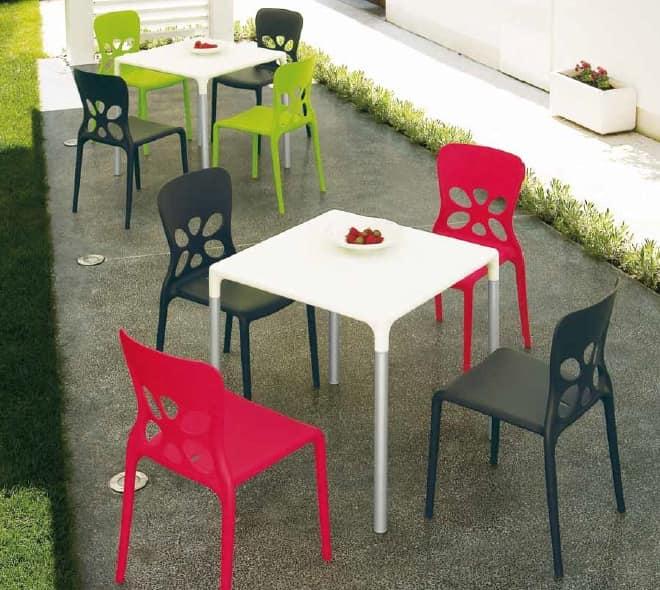 Tavoli In Plastica Impilabili.Tavolo Da Esterno Impilabile In Alluminio E Plastica Idfdesign