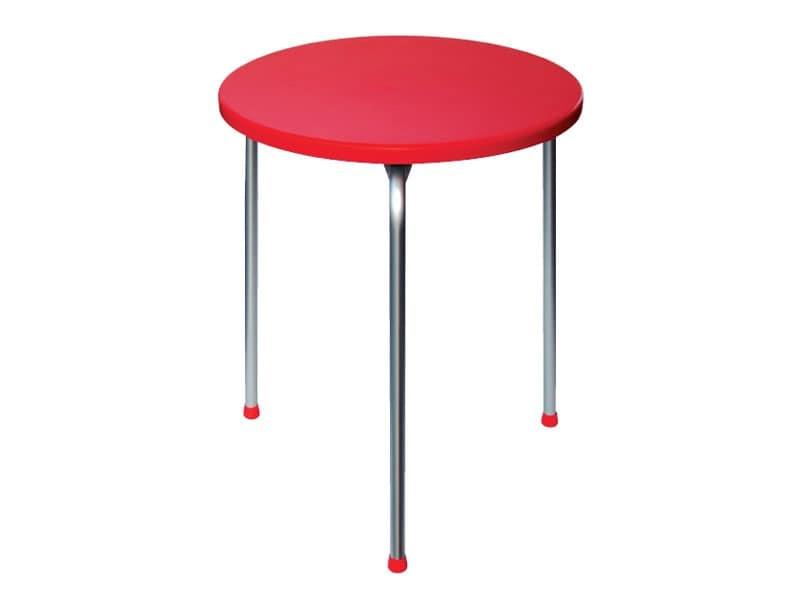 Tavolo Ø 60 cod. 04, Tavolino impilabile con 3 gambe in alluminio anodizzato