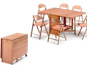 Tavolo Ginger, Sedia Stoppino, Tavolo salvaspazio, pieghevole, in legno di faggio