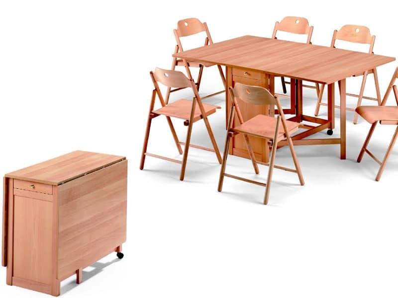 Tavolo salvaspazio pieghevole in legno di faggio idfdesign for Tavolo alto pieghevole