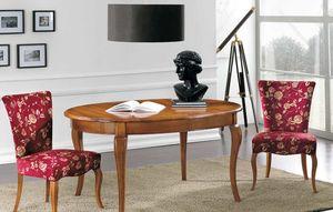 Art. 90, Tavolo in legno massello, con piano ovale