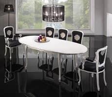BRIANZOLO tavolo 8498T, Tavolo ovale decorato, in faggio, per cucine classiche