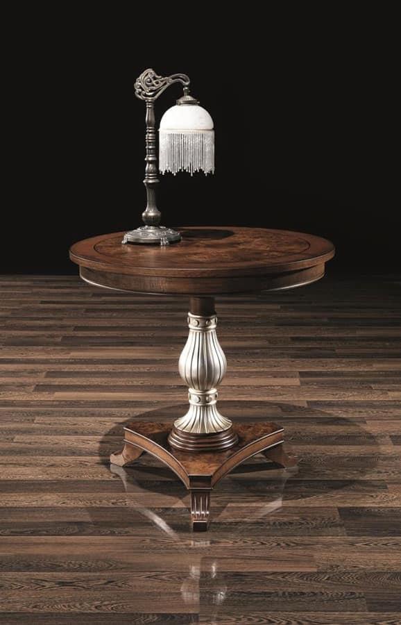 Tavolo tondo in legno con colonna decorata per alberghi for Tavolo tondo legno