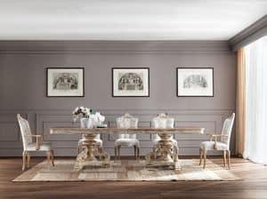 JADORE tavolo 8620T, Imponente tavolo da pranzo, in legno massiccio, dallo stile classico