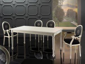 LUIGI XVI RECTANGULAR tavolo 8527T, Tavolo classico allungabile, in faggio, per cucina lussuosa