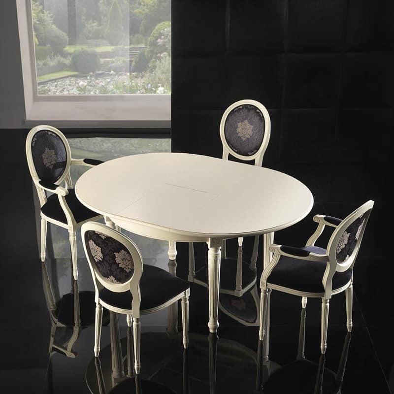 LUIGI XVI ROUND tavolo 8023T, Tavolo di lusso, in faggio, intagli floreali sulle gambe