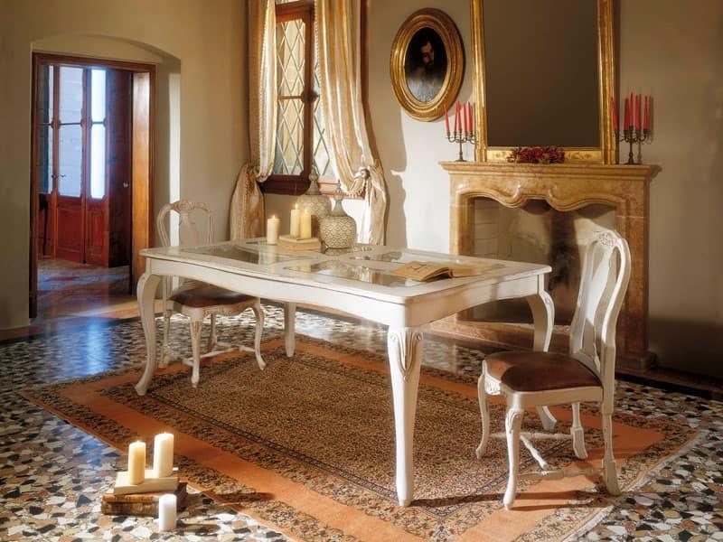 MALENE tavolo 8124T, Tavolo in stile gustaviano, struttura in legno e piano in vetro