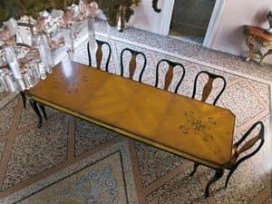 QUEEN ANNE table, Tavolo per sala da pranzo, in legno con intarsi pregiati