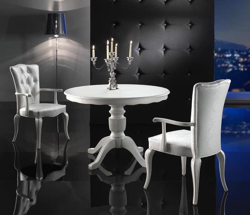 ROYAL tavolo 8494T, Tavolino rotondo di lusso, allungabile, per cucine