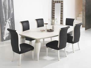 ZARA tavolo 8360T, Tavolo da pranzo con piano a botte e gambe tornite a pera