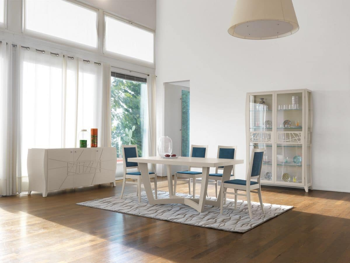 Tavolo rettangolare in frassino laccato in stile classico - Tavolo contemporaneo ...