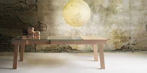 Banc, Tavolo con allunga, struttura in frassino, piano in cristallo