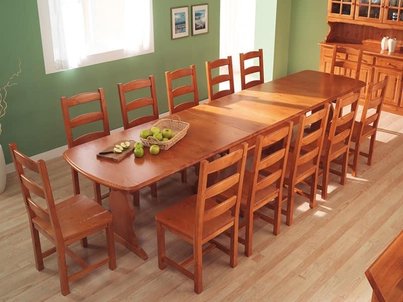 Collezione Amb 05, Tavolo rettangolare in legno, per alberghi e ville montane