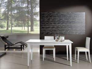 Complementi Tavolo 03, Tavolo allungabile in legno, perfetto per salotti moderni