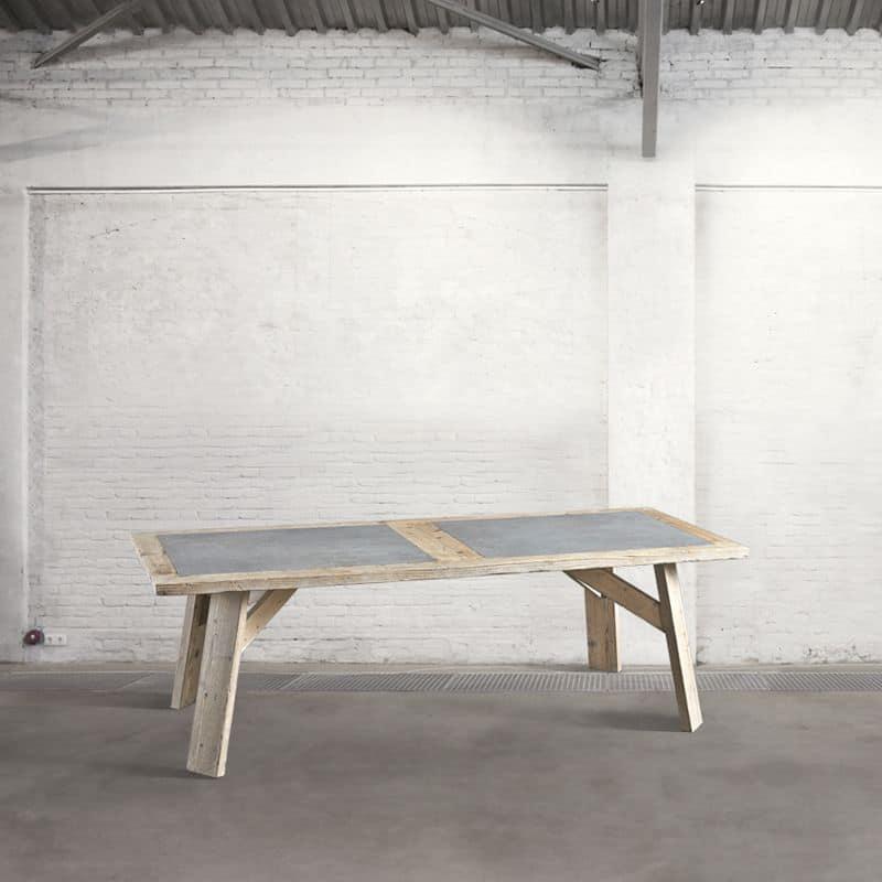 Db003759 tavolo in legno riciclato e cemento ideale per - Tavolo legno riciclato ...