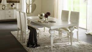 Donatello tavolo, Tavolo con gambe tornite, top in multistrato