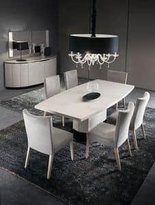 DUNE tavolo fris� perla, Tavolo in legno con effetto fris� perla e base a colonna