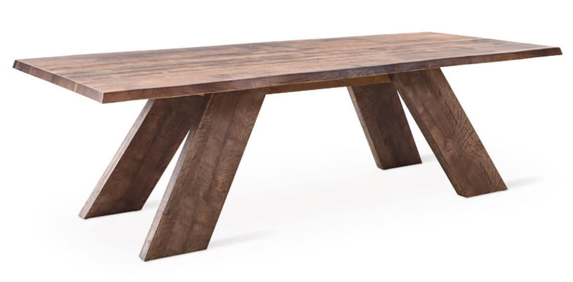 Tavolo rustico lineare in legno massiccio idfdesign for Tavolo rustico legno