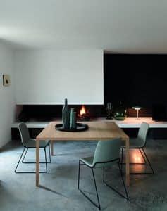 ENGO/ENGO ART tavolo, Tavolo design quadrato lineare in legno naturale