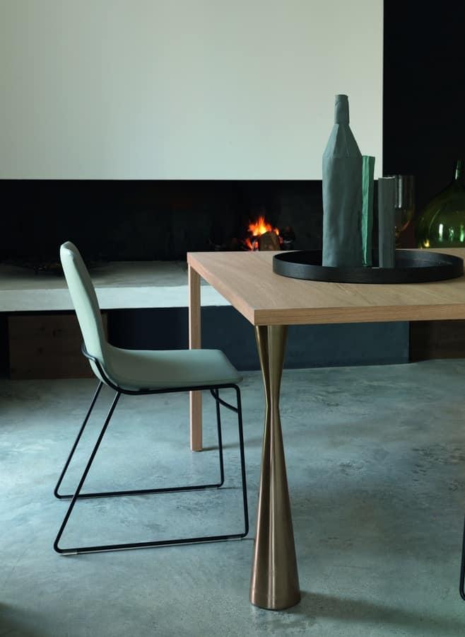 Tavolo Design Quadrato Lineare In Legno Naturale Idfdesign