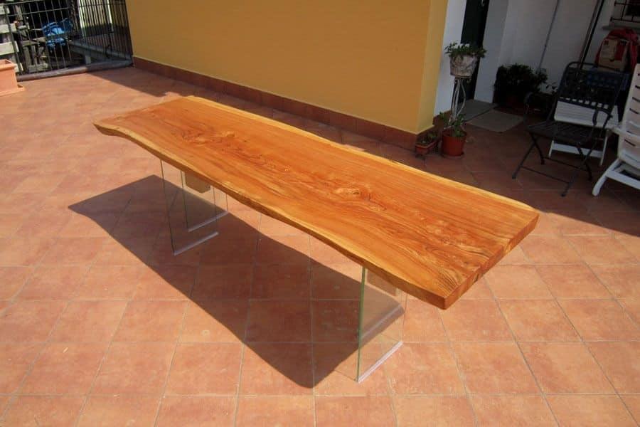 Fly, Tavolo in legno e e vetro per sala da pranzo, tavolo lineare per la casa - IDFdesign