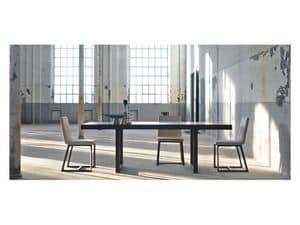 Kartesio, Tavolo da pranzo allungabile, in legno di rovere o noce