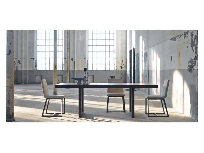 Tavolo da pranzo allungabile in legno di rovere o noce for Tavolo allungabile noce