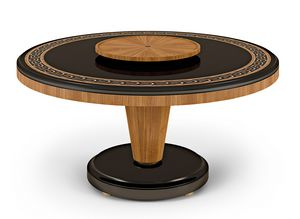 LEXINGTON AVENUE Tavolo, Tavolo rotondo con intarsi in legno