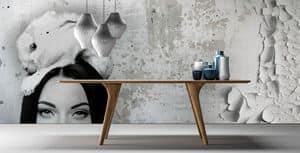 London, Elegante tavolo in legno massello, noce canaletto o rovere