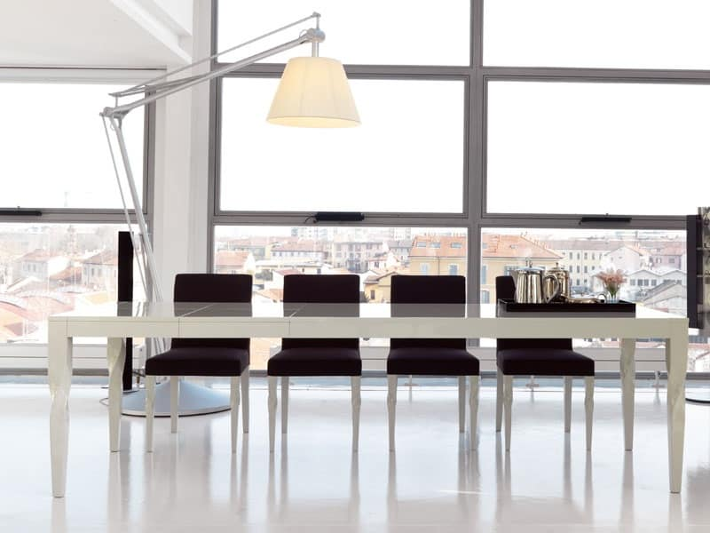 Tavolo da pranzo allungabile laccato opaco o lucido for Tavoli soggiorno allungabili design