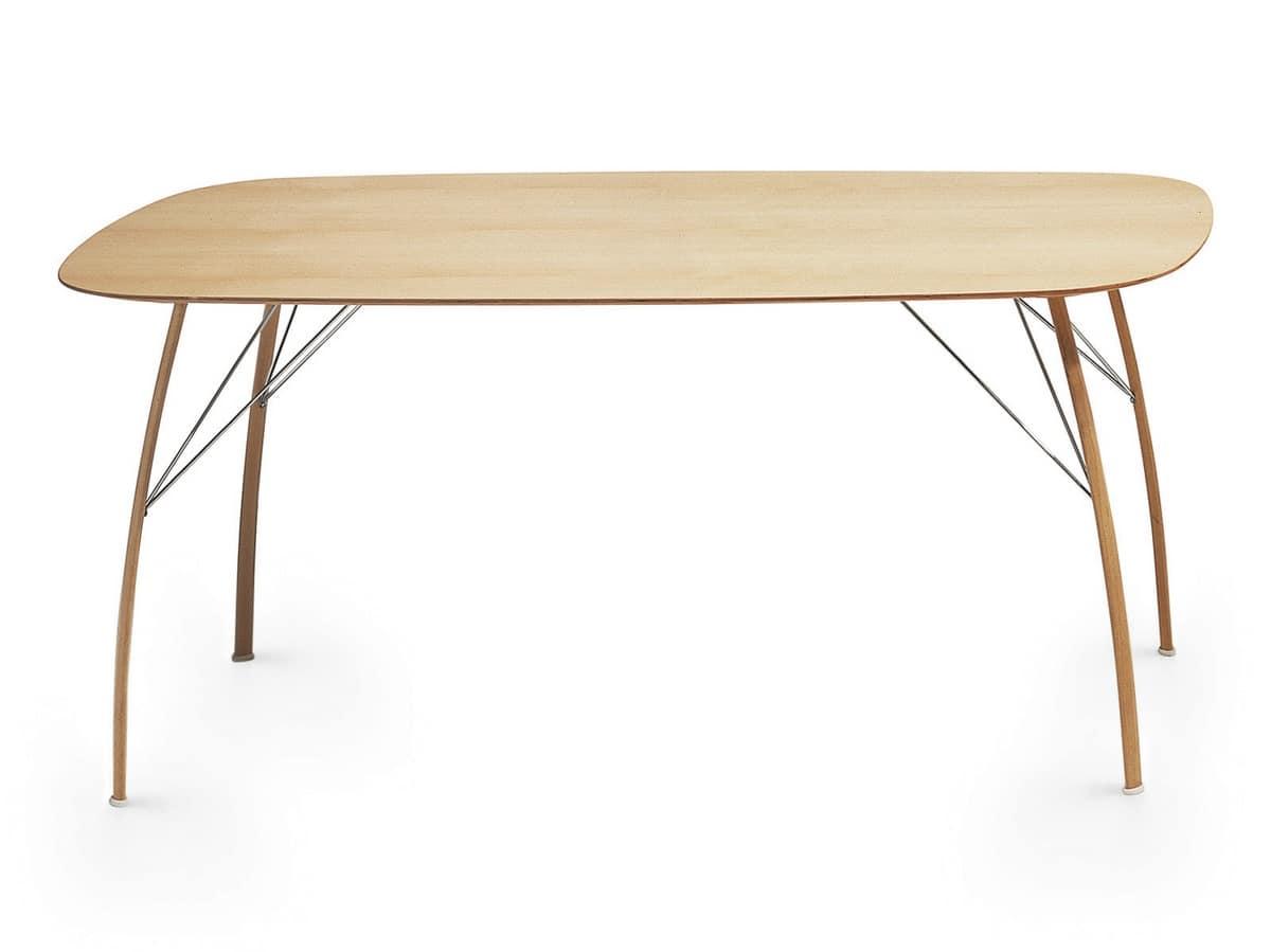 Tavolo da pranzo rettangolare con bordi smussati idfdesign - Tavolo pranzo design ...