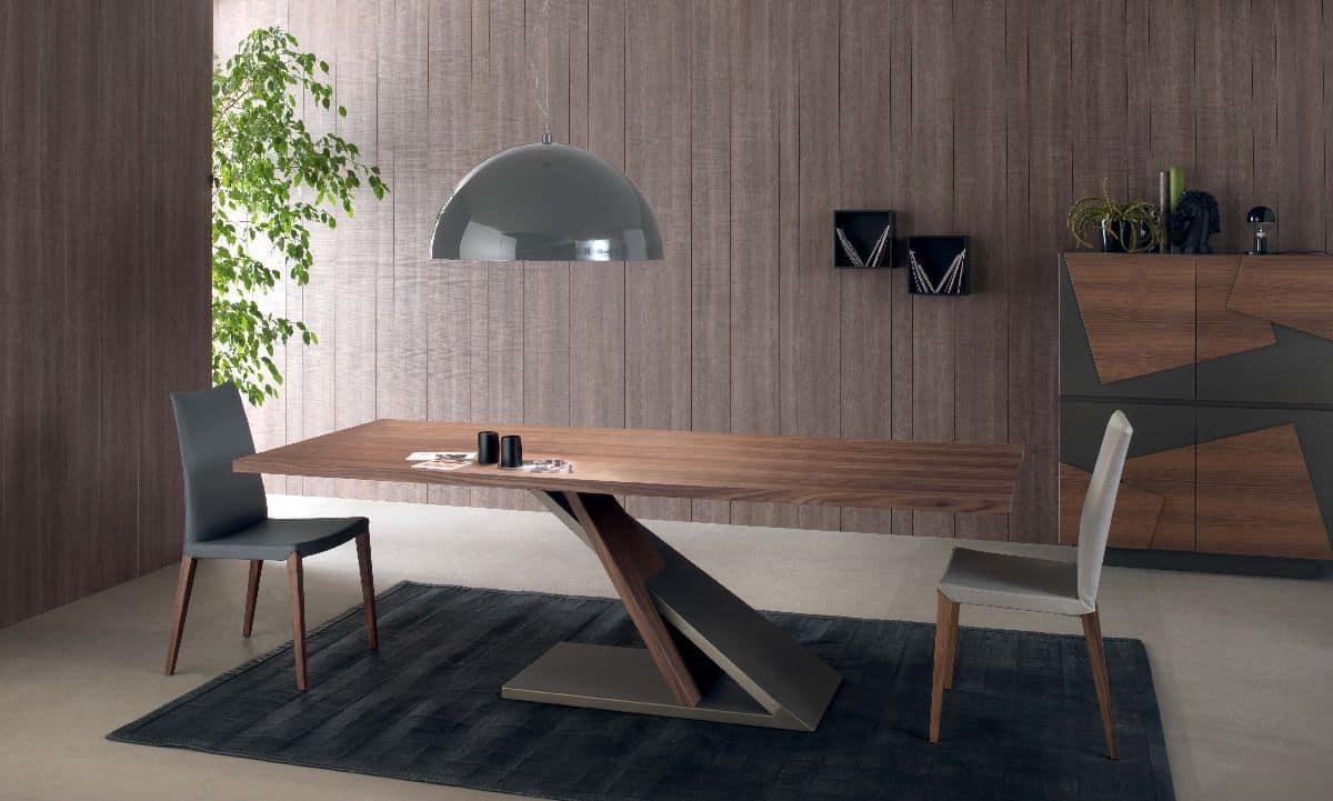 Tavolo design in metallo impiallacciato per cucina for Tavoli da pranzo in legno