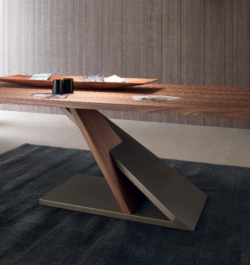 Zed 595, Tavolo design in metallo impiallacciato, per cucina