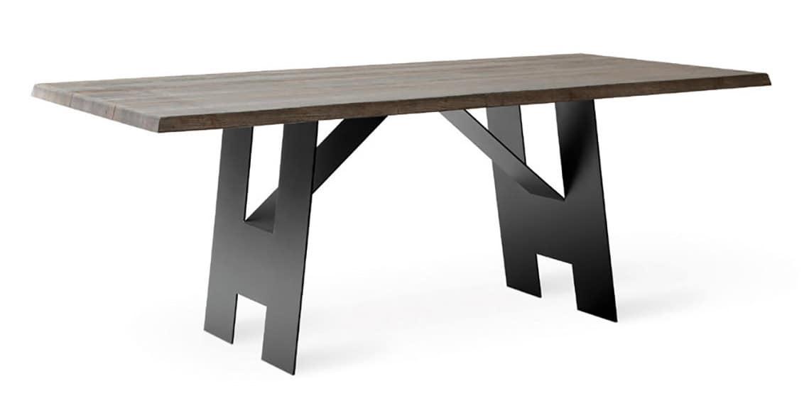Tavolo rustico con piano in legno massiccio anticato for Tavolo rustico legno