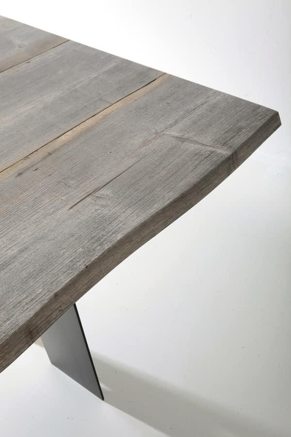 Tavolo rustico con piano in legno massiccio anticato - Tavoli in legno massiccio ...