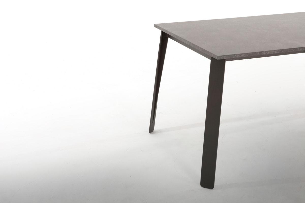 ALMA, Tavolo allungabile, con base in metallo
