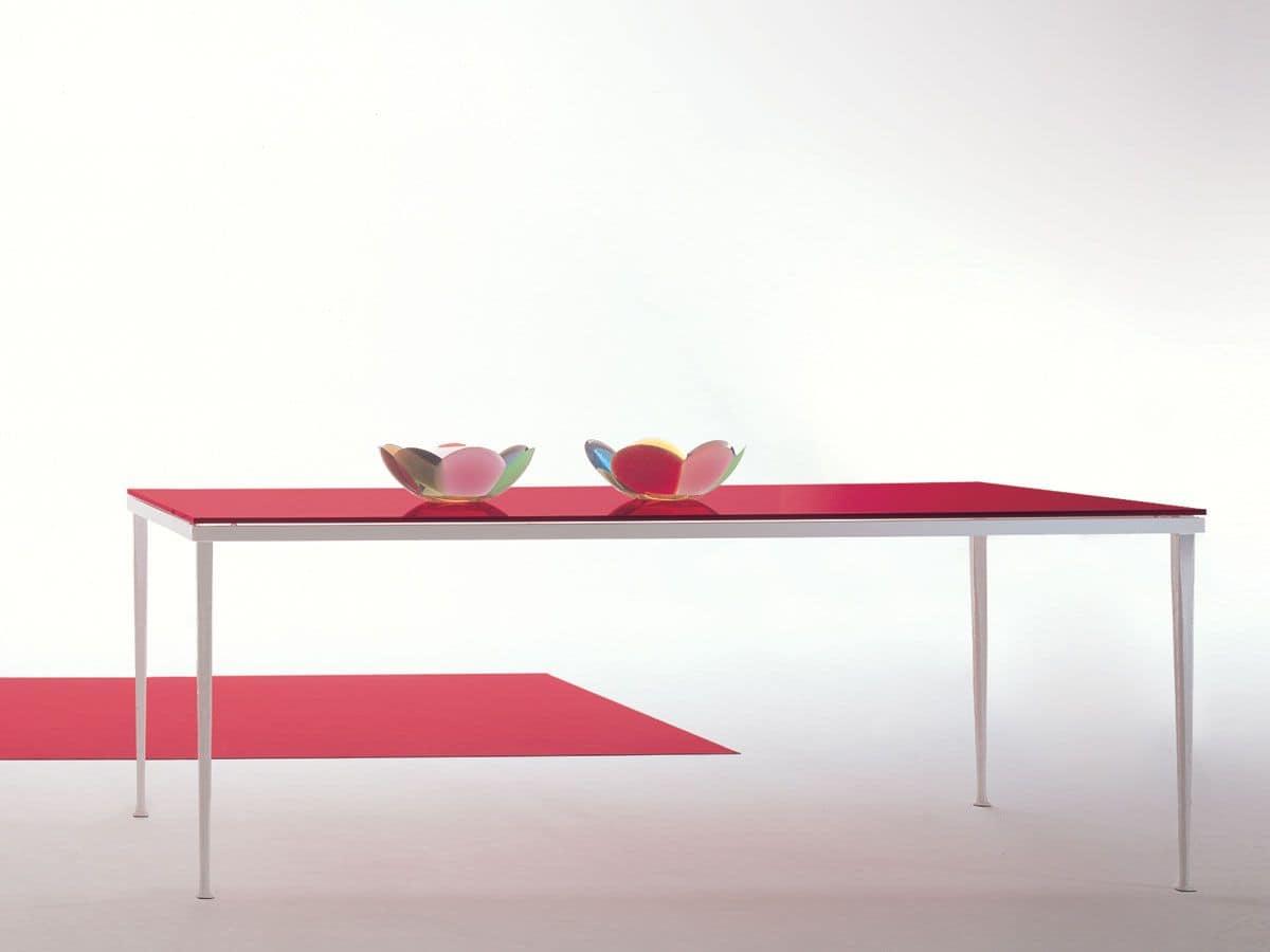 Arge, Tavolo rettangolare in metallo con piano in vetro