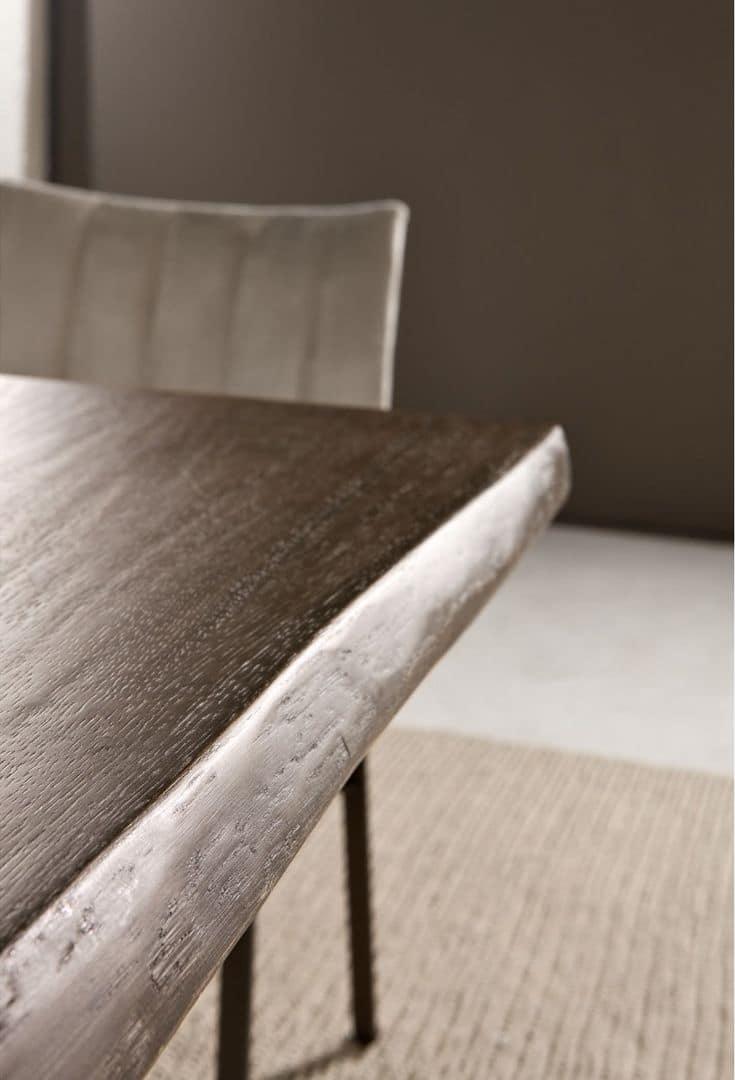 Tavolo Cucina Decorato Jack Cantori : Tavolo con piano in rovere massiccio base ferro
