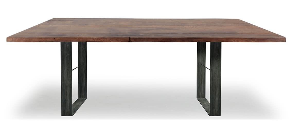 Tavolo Con Base In Metallo E Piano In Legno Massiccio